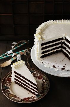 Chocolate ruffle cake. Can be made ahead of time.