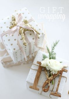 These presents with gold and white details