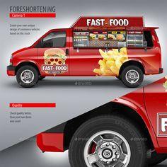 Food Truck Mock-Up. Minibus Eatery Mockup