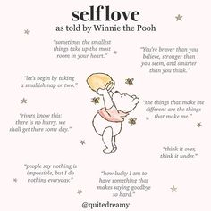 self love quotes Words Quotes, Wise Words, Me Quotes, Motivational Quotes, Inspirational Quotes, Sayings, Affirmations Positives, Winnie The Pooh Quotes, Self Care Activities