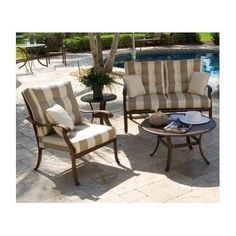 Coco Palm 3 Person Deep Seating Group with Cushion Sunbrella Outdoor Fabric: Regency Sand by Hospitality Rattan. $2177.96. 4PC SET-910-LS/Z-680-SU-703 Sunbrella Outdoor Fabric: Regency Sand The traditional Coco Palm collection incorporates a carved tropical palm tree design on an extruded aluminum frame that will not rust. The deep seating includes cushions while the dining chairs, and barstool are beautifully woven with a high-density polyethylene (HDPE) weave called t...