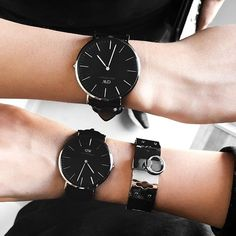 Matching @danielwellington black face watches ⌚️ #DWclassicblack #danielwellington // use our exclusive code // LLB // to get early access to the watch which isn't available yet // and 15% off