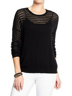 Women's Cropped Burnout-Stripe Sweaters | Old Navy