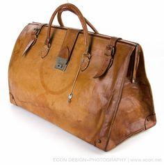 VINTAGE XL NATURAL GRAIN COWHIDE LEATHER WEEKENDER DOCTOR TRAVEL OVERNIGHT BAG #UNKNOWN