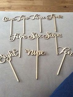 Wooden table numbers ideal for decorated jars, or floral centrepieces £5 hire fee the set