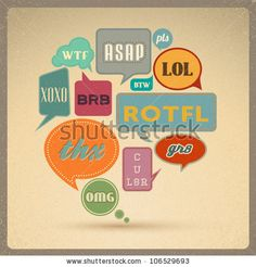 Most common used acronyms and abbreviations on retro style speech bubbles. - stock vector