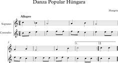 Danza Popular Húngara. Dúo para Flauta Soprano y Contralto Music Ed, Sheet Music, Contralto, Popular, Flute, World, Christmas Music, Music Instruments, Learning