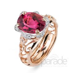 from Parade Design Parade's vintage-inspired design is anything but your basic cocktail ring as milgrain etched scrolls curl and climb toward a show-stopping pink tourmaline!