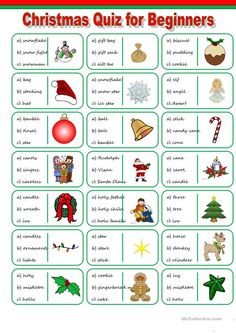 Elementary vocabulary quiz on Christmas. Materialtype: fun activities & games, one-on-one activities Christmas Quiz For Kids, Christmas Activities For Kids, Christmas Games, Christmas Holidays, Vocabulary Worksheets, English Vocabulary, Vocabulary Exercises, Printable Worksheets, Christmas Worksheets