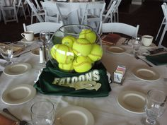 A sports themed centerpiece for the St. Stephens Event