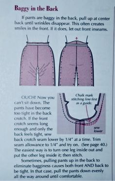 - tutoriels Baggy gouge back - Trousers / Pants fitting and pattern alteration.Baggy gouge back - Trousers / Pants fitting and pattern alteration. Sewing Projects For Beginners, Sewing Tutorials, Sewing Patterns, Sewing Tips, Sewing Lessons, Sewing Class, Sewing Pants, Sewing Clothes, Techniques Couture