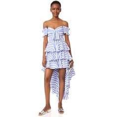 Caroline Constas Artemis Bustier Dress (€615) ❤ liked on Polyvore featuring dresses, blue multi, white dress, blue dress, white sleeve dress, striped dresses and white ruffle dress