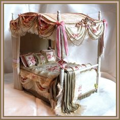 OOAK UPHOLSTERED FOUR POSTER/CANOPY BED by1/12TH SCALE by honeycuddlybunny | eBay