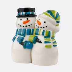 Christmas: Department 56 - Snowman Magnetic Salt and Pepper Shakers