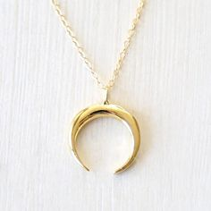 Upside Down Crescent Moon Horn Necklace // Sterling Silver // Gold