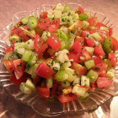 Cucumber, green pepper & tomato salad