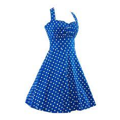 Rotita Polka Dot Print Blue Halter A Line Dress (1.390 RUB) ❤ liked on Polyvore featuring dresses, blue, blue sleeveless dress, sleeveless dress, cotton dresses, vintage halter dress and spaghetti strap dress