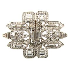 Delightful and significant Platinum and Diamond Art Deco Double Clips.USA Circa 1930s