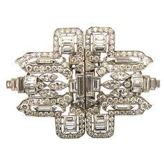 Platinum and Diamond Art Deco Double Clips. USA C.1930s