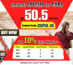 amantel special for cuba get 10 extra minutes use coupon code international calling cards5 - Cuba Calling Card