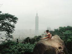 Elephant Pose on Elephant Mountain - I had to do it  #Taiwan #Taipei #rocks #elephantmountain #yoga #yogaeverydamnday #travel #wanderlust #traveldeeper #passionpassport #foggy #cntraveler #afar #lululemon