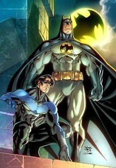 Batman and Nightwing Atop Gotham
