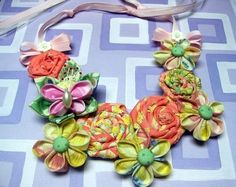 Fabric Flower Bib Necklace PDF Tutorial ... Includes All 3 Flowers