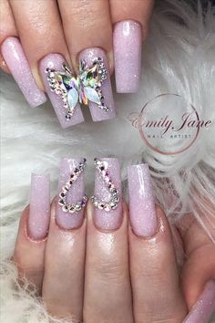 Natural acrylic rhinestone coffin nails design you cannot miss - Abby FASHION STYLE - Carpets Mag Diamond Nail Designs, Diamond Nails, Acrylic Nail Designs, Sparkly Acrylic Nails, Coffin Nails Ombre, Rhinestone Nails, Bling Nails, Coffen Nails, Manicures