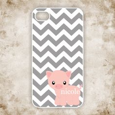 I so want this! iPhone 4 Case /   Cute Pig on Gray Chevron by CreateItYourWay, $18.99