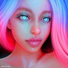 Digital Art Girl, Digital Portrait, Portrait Art, Portraits, Dibujos Tumblr A Color, Neon Girl, Pretty Art, Anime Art Girl, Cartoon Art