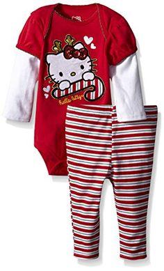 b8e05acef Hello Kitty Baby Girls' Top and Pant Set, Red, Months: Girls HK Christmas  bodysuit and pant