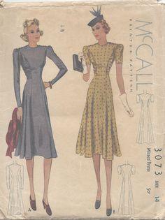 1938 Vintage Sewing Pattern B32 DRESS (E1226)