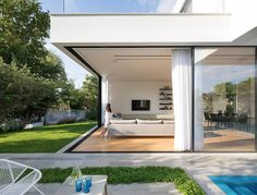 L shaped house designed to have the park with Eucalyptus trees seen as a continu… – Modern L Shaped House, Tree Saw, Garden Buildings, Wooden House, Modern House Design, Ground Floor, Architecture Design, Home And Family, Luxury