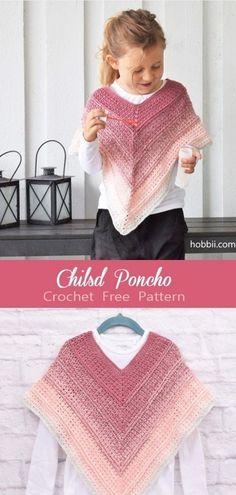 Crochet Toddler, Crochet Girls, Crochet Baby Clothes, Crochet For Kids, Crochet Dresses, Kids Poncho Pattern, Free Pattern, Toddler Scarf Crochet Pattern, Poncho Knitting Patterns