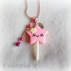 Necklace Star kawaii pink lollipop Source by tulipbytulipan Diy Fimo, Crea Fimo, Cute Polymer Clay, Cute Clay, Fimo Clay, Polymer Clay Charms, Polymer Clay Projects, Clay Crafts, Polymer Clay Jewelry