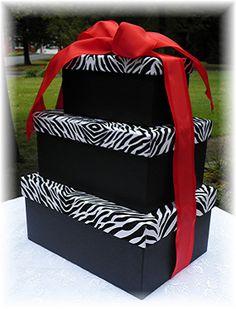 DRAMATIC Wedding Card Money Box Zebra by WildExpressionsBride www.wildexpressionsbride.etsy.com