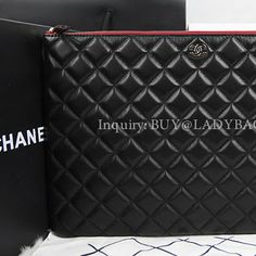 Chanel Pouch Bag embellished with CC signature in Lambskin  buy@ladybag.us #chanelbag, #chanel, #chanelpunchbag