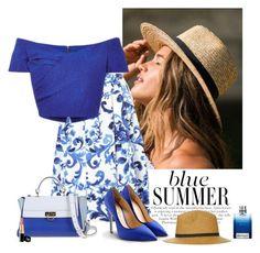 """Blue Summer"" by katiethomas-2 ❤ liked on Polyvore featuring MaxMara, Salvatore Ferragamo, Giuseppe Zanotti and Topshop"