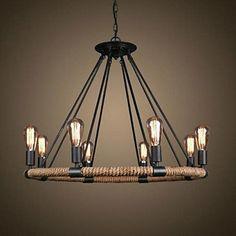 retro 8 Lampe Hanfseil Kronleuchter Retro Landhausstil: Amazon.de: Beleuchtung
