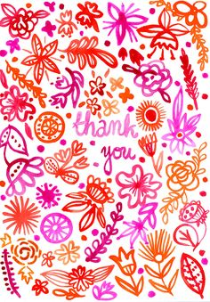 Pink and red sketches - Thank you - watercolour flowers illustration Watercolor Flowers, Watercolor Art, Color Me Badd, Sketchbook Challenge, Wall Nails, Tangle Doodle, Pretty Fonts, Folk, Love Illustration