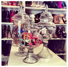 Closet inspiration: apothecary jars for jewelry