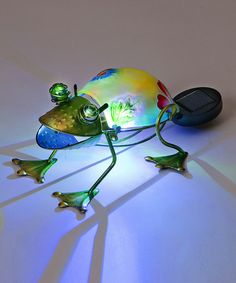 Look what I found on #zulily! Yellow & Green Color-Changing LED Frog Garden Décor #zulilyfinds