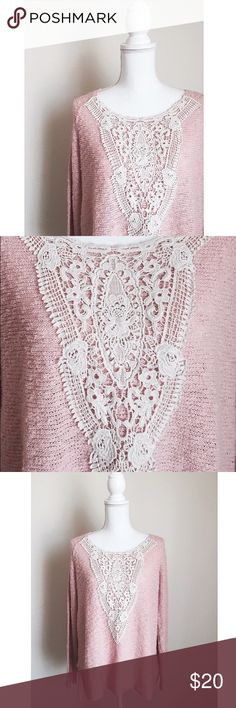 Lace Detailed Pink Sweater New ✨ Gorgeous pink sweater with detailed lace panel on the front. Flattering Fit ⚜ Size Large Mossimo Supply Co Sweaters