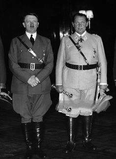 """"""" An unusually good photo of Hitler with Goering in early 1940. Goering must be wearing lifts because he was actually shorter than Hitler."""" Goering was the Lady Gaga of the Reich. Of course the fashion tiger needs lifts to complete the..."""