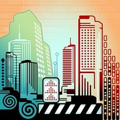 Line vector composed of highrise buildings Vector misc - Free vector for free download