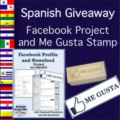 Spanish Facebook giveaway for Spanish teachers. Free stamp and free Facebook Profile Project