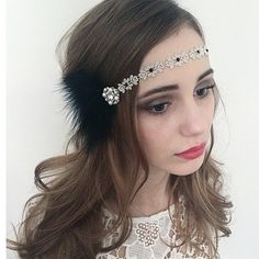 Black Silver Feather Great Gatsby 1920 Black Headpiece Headband