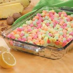 Pastel Gelatin Salad Recipe -In Santee, California, Teresa Ries tops her gelatin salad with pretty pastel mini marshmallow to add color to holiday menus. With its creamy lemon-lime base and tangy pineapple flavor, it's a tasty accompaniment to any meal. Brownie Desserts, Lime Desserts, Jello Desserts, Jello Recipes, Dessert Salads, Easter Recipes, Holiday Recipes, Delicious Desserts, Dessert Recipes