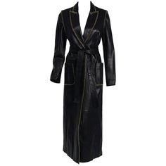 Preowned 2000 Alexander Mcqueen For Givenchy Runway Whipstitch Black... (€2.500) ❤ liked on Polyvore featuring outerwear, coats, black, trench coats, leather trenchcoat, leather trench coat, alexander mcqueen, alexander mcqueen coat and genuine leather coat