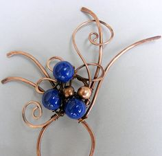 Hair Fork - Hair Stick - Copper Hair Fork with Cobalt Blue Lapis Beads - Copper Hair Stick - Wire Wrapped Hair Fork